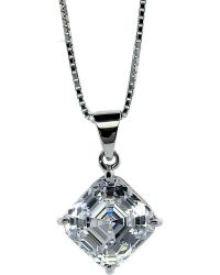 Carat* | Metallic Asscher 1.25ct Solitaire Pendant Necklace | Lyst