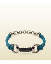 Gucci | Blue Cord Bracelet with Horsebit for Men | Lyst