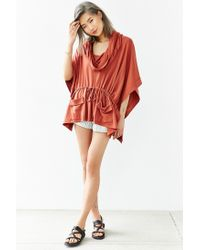 Silence + Noise - Red Maddox Draped Poncho Top - Lyst