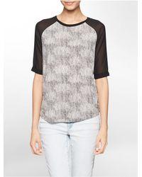 Calvin Klein | Gray Jeans Marble Print Sheer 3/4 Sleeve Top | Lyst