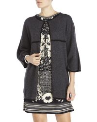 In Cashmere - Gray Contrast Trim Cardigan - Lyst