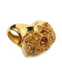 Alexander McQueen - Metallic Skull Filigree Ring - Lyst