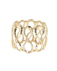 1928 | Metallic Gold Hammered Infinity Stretch Bracelet | Lyst