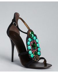 Giuseppe Zanotti - Black Suede Jewel Embellished Strappy Sandals - Lyst