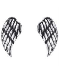Aeravida | Metallic Cute Angel Wing/wings .925 Silver Stud Earrings | Lyst