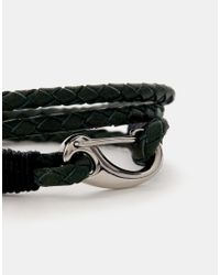 Seven London - Green Plaited Leather Wrap Bracelet for Men - Lyst