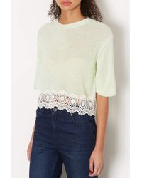 TOPSHOP - Green Petite Knitted Lace Hem Crop Jumper - Lyst