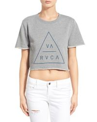 RVCA - Gray 'triangular' Crop Graphic Short Sleeve Sweatshirt - Lyst