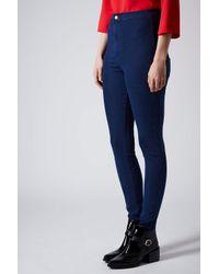 TOPSHOP - Moto Hyper Blue Joni Jeans - Lyst