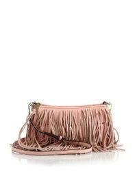 Rebecca Minkoff - Pink Finn Fringed Convertible Leather Crossbody Bag - Lyst