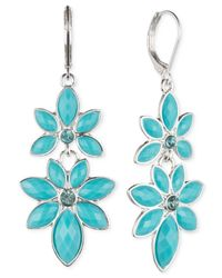 Anne Klein | Blue Gold-tone Flower Double Drop Earrings | Lyst
