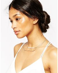ASOS | Metallic Occasion Double Row Pearl & Bar Necklace | Lyst