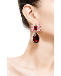 Shourouk - Galaxy Goldplated Swarovski Crystal Earrings in Pink - Lyst