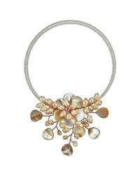 Aeravida - Natural Pretty Pink Mop Flower Ray Choker Wrap Necklace - Lyst