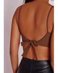 Missguided | Crepe Crop Top Brown | Lyst