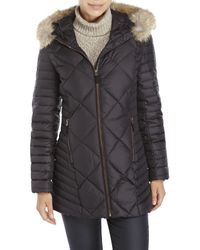 Marc New York - Black Kameron Real Fur Trim Puffer Coat - Lyst
