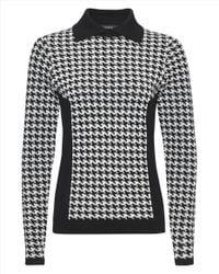 Jaeger - Black Mini Houndstooth Sweater - Lyst