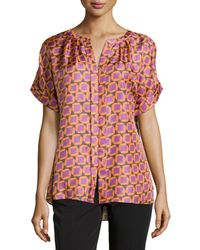 Lafayette 148 New York - Pink Lorient Geo-print Silk Blouse - Lyst