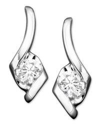 Sirena - Metallic Diamond Drop Earrings In 14k White Gold (1/2 Ct. T.w.) - Lyst