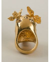 Alexander McQueen - Metallic Skull And Butterfly Cocktail Ring - Lyst