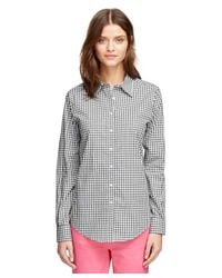 Brooks Brothers - Black Non-iron Classic Fit Gingham Dress Shirt - Lyst