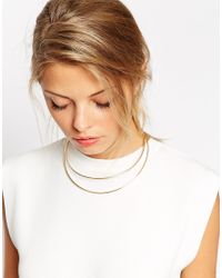 ASOS | Metallic Fine Double Bar Necklace | Lyst