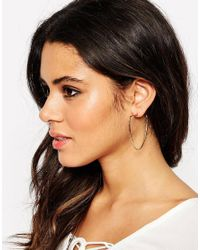 ASOS - Metallic Hammered Shape Hoop Earrings - Lyst