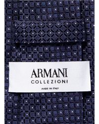 Armani - Blue Tile Dot Silk Jacquard Tie for Men - Lyst