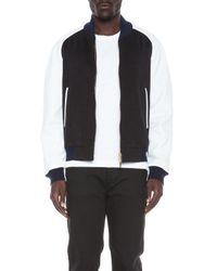 Thom Browne - Blue Raglan Varsity Cashmere Jacket with Leather Sleeves - Lyst