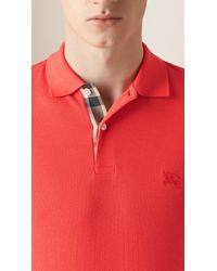 Burberry - Orange Check Placket Polo Shirt for Men - Lyst