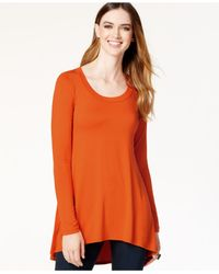Karen Kane | Orange Scoop-neck Hi-low Top | Lyst