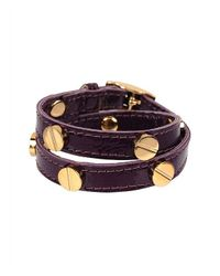 CC SKYE | Purple The Signature Screw Bracelet Double Wrap In Gold | Lyst