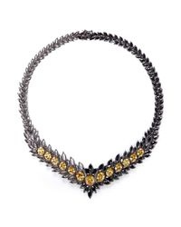 Iosselliani | Gray Asymmetric Marquise Cutwork Collar Necklace | Lyst