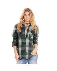 Denim & Supply Ralph Lauren | Green Plaid Cotton Flannel Shirt | Lyst