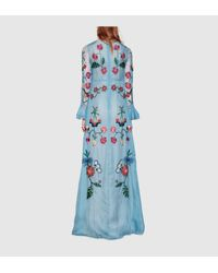 Gucci | Blue Silk Organza Embroidered Gown | Lyst