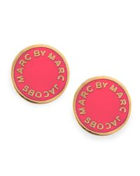 Marc By Marc Jacobs | Metallic Enamel Logo Disc Stud Earrings Hot Pink | Lyst