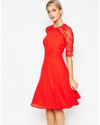Elise Ryan | 3/4 Lace Dress - Red | Lyst