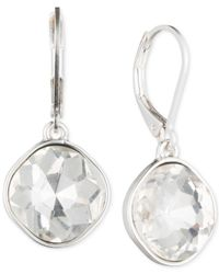Nine West | Metallic Silver-tone Glass Stone Teardrop Earrings | Lyst
