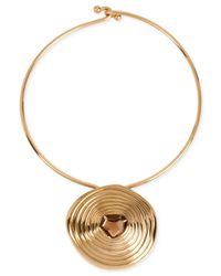 Robert Lee Morris | Metallic Bronze-tone Stone Medallion Pendant Necklace | Lyst