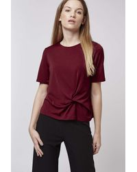 TOPSHOP | Red Petite Twist-front Tee | Lyst