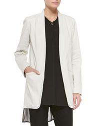 Eileen Fisher | White Long Polished Ramie Jacket | Lyst