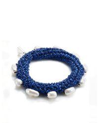Lucy Folk | Deep Blue Crochet Pearly Bracelet | Lyst