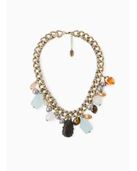 Violeta by Mango | Metallic Crystal Necklace | Lyst