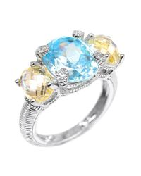 Judith Ripka | Canary & Sky Blue Crystal White Sapphire Three-Stone Sterling Silver Ring | Lyst