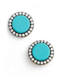 Freida Rothman | Blue 'metropolitan' Stone Stud Earrings - Gunmetal/ Turquoise | Lyst