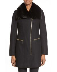 Via Spiga | Black Faux Fur Trim Asymmetrical Zip Front Coat | Lyst