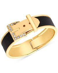 Guess | Gold-tone Black Stone Buckle Belt Bracelet | Lyst