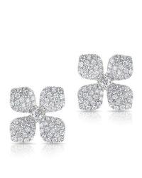Anne Sisteron | Metallic 14kt White Gold Diamond Gardenia Flower Stud Earrings | Lyst