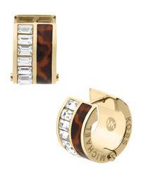 Michael Kors - Metallic Gold-Tone & Tortoise Huggie Earrings With Crystal Embellishment - Lyst
