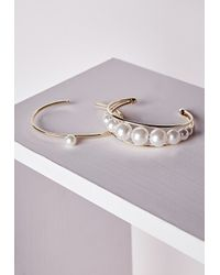 Missguided | Metallic Pearl Detail Bracelet Set Gold | Lyst